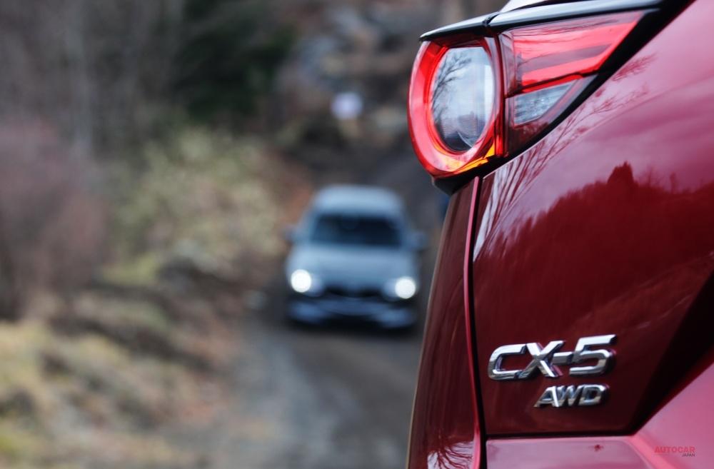 CX-30、CX-5、CX-8のAWD車でテストを行った。タイヤは市販モデルから変更なし。