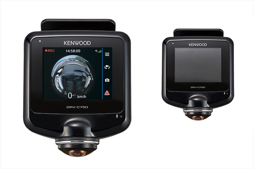 ケンウッドが8月下旬に発売する360°撮影対応ドライブレコーダー「DRV-C750」。