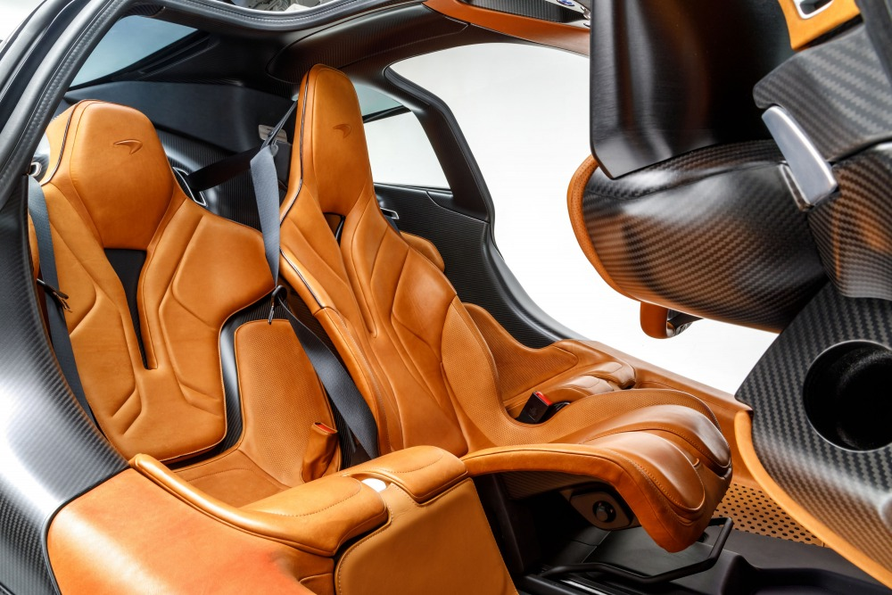 Interior of McLaren Speedtail which becomes 3 seater. The door is a dihedral type that opens upward.