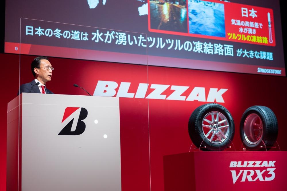 ブリザックVRX3の発表会には、製品開発管掌を務める草野亜希夫 常務役員が登壇し、技術説明を行った。